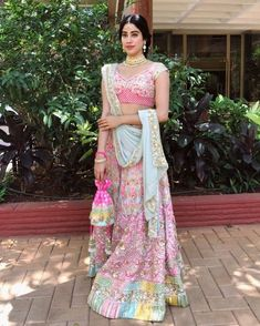 Pastels with pops of candy colors// Manish Malhotra lehenga for the day wedding! Wedding Dresses For Girls, Indian Wedding Outfits, Wedding Dresses Plus Size, Bridal Outfits, Indian Outfits, Indian Clothes, Indian Attire, Indian Designer Outfits, Designer Dresses