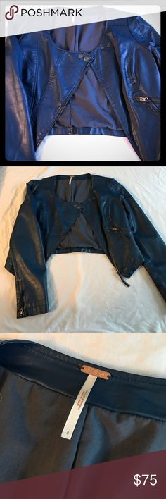 Free people blue faux leather jacket Free People beautiful shade of blue cropped faux leather jacket. Size 8. In GREAT condition. Perfect for Spring! Free People Jackets & Coats