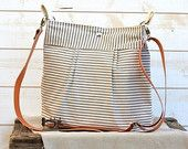 Waterproof BEST SELLER Diaper bag/Messenger bag STOCKHOLM Gray and ecru nautical stripe - 10 Pockets -Ikabags Baby talk magazine featured #EasyNip