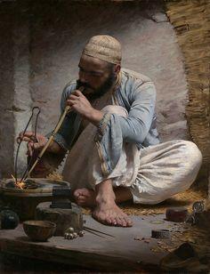 Charles Sprague Pearce - Arab Jeweller [c.1882] by Gandalf's Gallery,