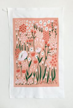 Poppy Floral Tea Towel Coral / Pink by lisaruppdesign on Etsy