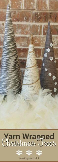 So simple, yet pretty. Three paper mache Christmas Tree Cones, yarn wrapped and embellished. Yarn Wrapped Christmas Tree Cones / Modern Christmas Trees / Modern Christmas Decor #Sponsored