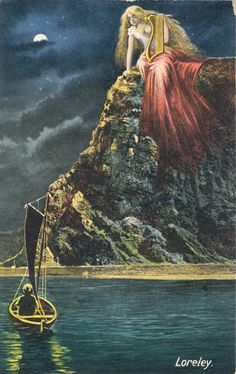 A German postcard representation of the Lorelei/Loreley, the siren symbol of a treacherous rock on the river Rhine in Germany. (Goethezeitportal.de)