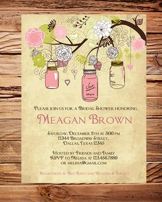 Send these then incorporate the Ball mason jars into the theme? :) Vintage Mason Jars Invitation Vintage Bridal by StellarDesignsPro, $18.00