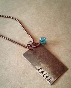 Hand Stamped Faith Necklace by HippieSwankBoutique on Etsy, $28.00