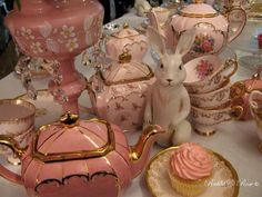 lovely #shabby #pink #tea service with a bunny standing watch