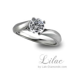 Lilac Lab Created Engagement Ring, A twisted solitaire embraced with a four prong head will showcase any stone you choose.
