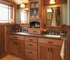 Minneapolis bath remodeled with Fieldstone Cabinetry - craftsman - Bathroom - Minneapolis - Fieldstone Cabinetry