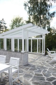 Flagstone, glass shed roof Outdoor Garden Rooms, Outdoor Gardens, Backyard Patio Designs, Pergola Patio, Outside Living, Outdoor Living, Townhouse Garden, Small Buildings, Back Patio