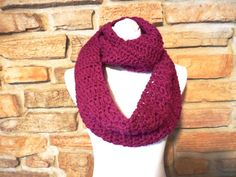 Womens plum infinity scarf hand crocheted purple by QUINNYSCROCHET, $28.00