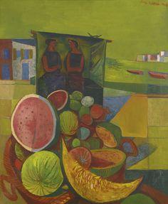 blastedheath: John Minton (English, 1917-1957), Melon Sellers, Corsica, 1948. Oil on canvas, 22 x 18 in.