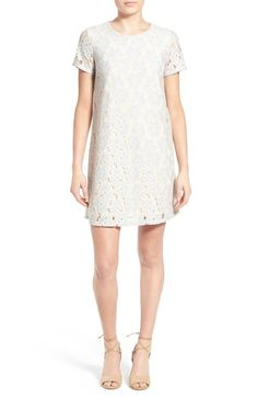 Free shipping and returns on dee elle Lace Shift Dress at Nordstrom.com. Pops of soft blue highlight the charming floral-lace texture of a shift dress framed with sheer short sleeves.
