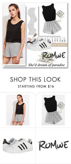 """Romwe"" by sennci ❤ liked on Polyvore featuring adidas, 7 For All Mankind and Ciaté"