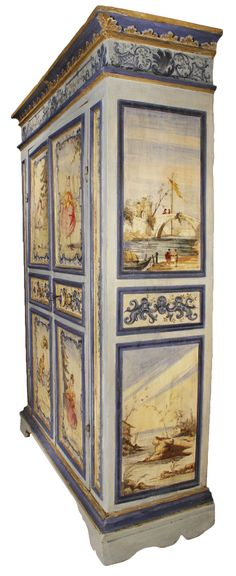 An 18th century Venetian two door painted armoire | From a unique collection of antique and modern wardrobes and armoires at https://www.1stdibs.com/furniture/storage-case-pieces/wardrobes-armoires/