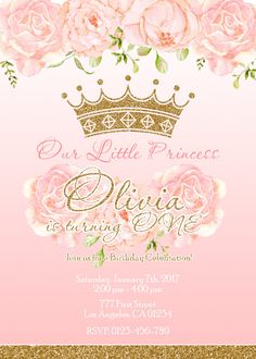 Pink and gold princess birthday party invitation pinterest princess birthday invitation pink and gold princess invitation princess birthday party invitation filmwisefo