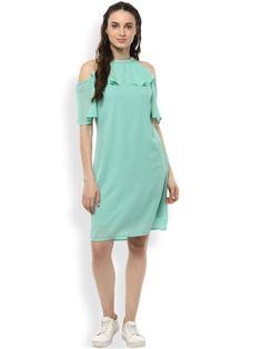 Green Solid Layered A- Line Dress Cute Short Dresses, Nice Dresses, Summer Dresses, All Fashion, Trendy Fashion, Womens Fashion, Amazing Shopping, New Dress, Dresses Online