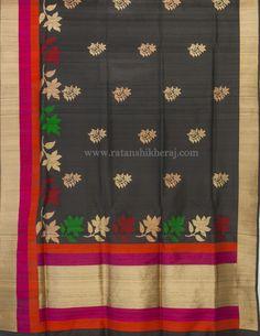 Black tassar silk buta skirt border. #BuyOnline #Tassar #Silk #Black #Buta #Zari #Banarasisaree #Handmade