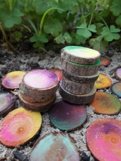 Colorful Sliced Wood Stepping Stones by FairyElements on Etsy, $9.00