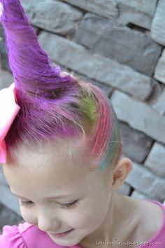 Rainbow Unicorn Hair for Halloween (instructions)