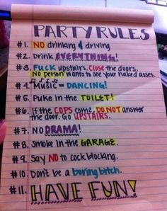 alcohol, drink, funny, party, party rules
