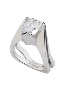 2 ct E color, Flawless,Pear shape cradled in an 18 K. white gold ring.