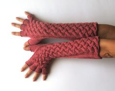 Double Cable Gloves Pattern Knit Fingerless Gloves Pattern
