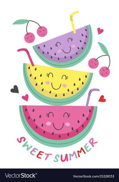 Poster with cute watermelon vector image on VectorStock Watermelon Girl, My Little Pony Twilight, Wallpaper Stickers, Print Wallpaper, Kids Girls Tops, Flamingo Decor, Bullet Journal Writing, Cute Fruit, Fun 2 Draw