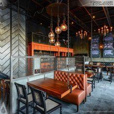 A' Design Award and Competition - Images of The Urban Foundry by Ketan Jawdekar Brewery Design, Pub Design, Hall Design, Loft Design, Restaurant Streets, House Restaurant, Small Restaurant Design, Restaurant Interior Design, Back Bar Design