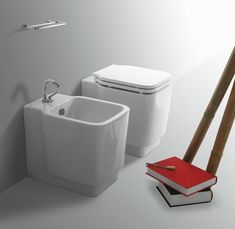 FL62 + FL61 | Flow Ceramica Simas Back to wall bidet with single tap hole. Back to wall WC