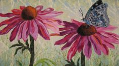 "thread painting ""Butterfly on Coneflower"""