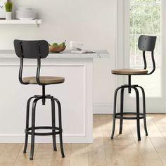 Dakota Adjustable Wood Seat Barstool - Threshold™ : Target Breakfast Bar Chairs, Office Stool, Chair Height, High Stool, Adjustable Bar Stools, Home Kitchens, Kitchen Remodel, Mid-century Modern, Target