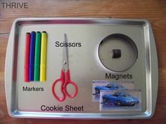Thrive: Summer Road Trip #2: DIY Travel Games  Thinking about how to use magnets and cookie sheets to make our travel activities tidier.