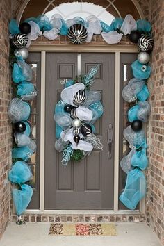 Doorway garland and door decoration. Beautiful for holidays, events, or just for fun.