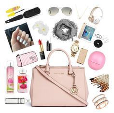 """""""What's in my purse?"""" by smilecjh249 ❤ liked on Polyvore featuring beauty, Michael Kors, Beats by Dr. Dre, Ray-Ban, NLY Accessories, Wanderlust + Co, L'Oréal Paris, Victoria's Secret, MAC Cosmetics and River Island"""