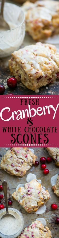 Fresh Cranberry and White Chocolate Scones drizzled with a vanilla bean glaze are moist, flakey, not too sweet, and utterly addicting! ~ http://theviewfromgreatisland.com