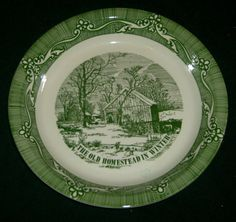 The Old Homestead in Winter Currier and Ives Collection Green design Bowl