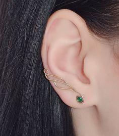 Gold EAR CLIMBER Emerald // Emerald Ear Pins - Minimalist Earrings - Ear Sweep - Ear Vines - Earcuff - Wrap Earings