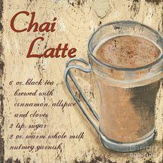 Coffee Signs - Art - Chai Latte by Debbie DeWitt I Love Coffee, Coffee Art, Coffee Time, Coffee Break, Coffee Shop, Coffee Cups, Kitchen Artwork, Kitchen Prints, Chai Latte
