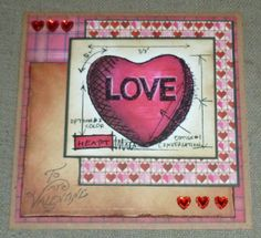 handmade valentine card, tim holtz blueprint stamp, distress inks