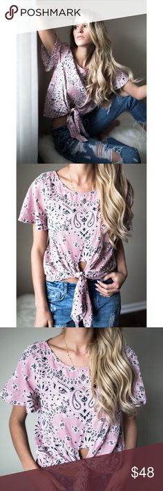 """Pink Bandana Tie Top Bandana Tie Top! love the fun flirty vibes of this top with it's vibrant hue and classic bandana print! The butterfly sleeves and front knot at the hem complement this piece perfectly. Length: Shoulder to hem length on a size small measures 20"""" Runs: True to size. Top is 100%Cotton Tops"""