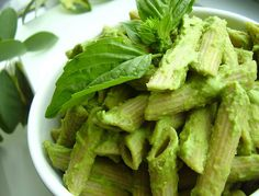 vegan-yums:    green tea pesto pasta by Jackie Newgent RD on Flickr.