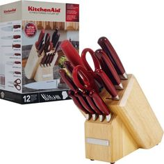 Candy Apple Red Kitchen Appliances from KitchenAid - 12-Piece Forged Block Knife Set