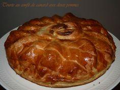 Tourte au confit de canard aux deux pommes1 Quiche Muffins, Cake Flan, Duck Recipes, Entrees, Snacks, Meat, Cooking, Desserts, Food