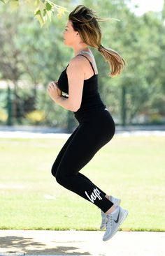 Jump around! The former TOWIE star is in great shape and ensures she gets regular exercise