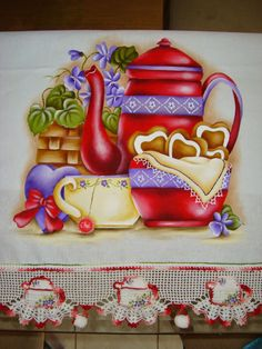 Risco de Pintura em Tecido. Fabric Painting, Tole Painting, Painting On Wood, Patisserie, Crochet Stitches Patterns, Embroidery Patterns, Tea Design, Mug Cozy, Tee