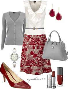 "I just wish that they would pair more flats with these outfits...  ""Red and Gray"" by cynthia335 on Polyvore"