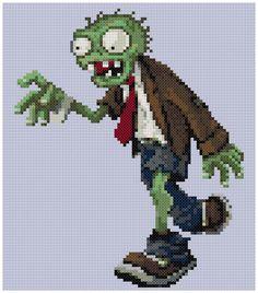 PDF Cross Stitch pattern 0272.Zombie Plants vs. by PDFcrossstitch