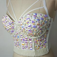 New Hot handmade Sexy Women Mermaid Crystal Rhinestone Bustier White Embroidered Jeweled Pearl Bustier Bra Crop Top Bustiers, Festival Costumes, Festival Outfits, Festival Fashion, Drag Queen Costumes, Dance Costumes, Rave Outfits, Sexy Outfits, Rhinestone Bra