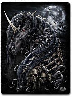 "Universe of goods - Buy ""FULLCANG diy diamond painting night skull unicorn mosaic cross stitch full square diamond embroidery kits home decor for only USD. Evil Unicorn, Black Unicorn, Unicorn Art, Dark Fantasy Art, Fantasy Kunst, Dark Gothic Art, Gothic Rock, Horse Skull, Horse Art"