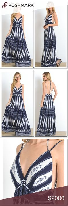 🎀Preview 🎀Printed Maxi Dress Printed maxi dress. Half lined. 100% RAYON This color is MIDNIGHT. Dresses Maxi